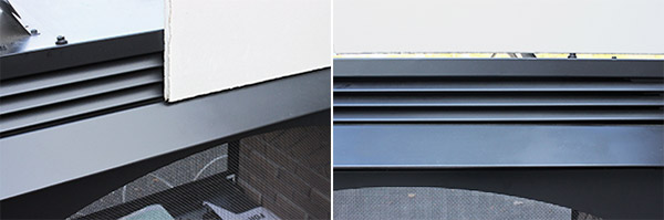 Shown on the left is a combustible wall panel that has been lapped over the metal face of a prefabricated fireplace, which is a potential fire hazard.  On the right is an example of a properly spaced wall panel, with no coverage of the metal fireplace facing and a small air gap left between the wall surface and the fireplace.
